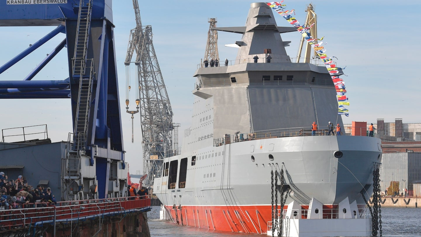 The launch of the first Project 23550 ice-capable patrol ship, the Ivan Papanin.