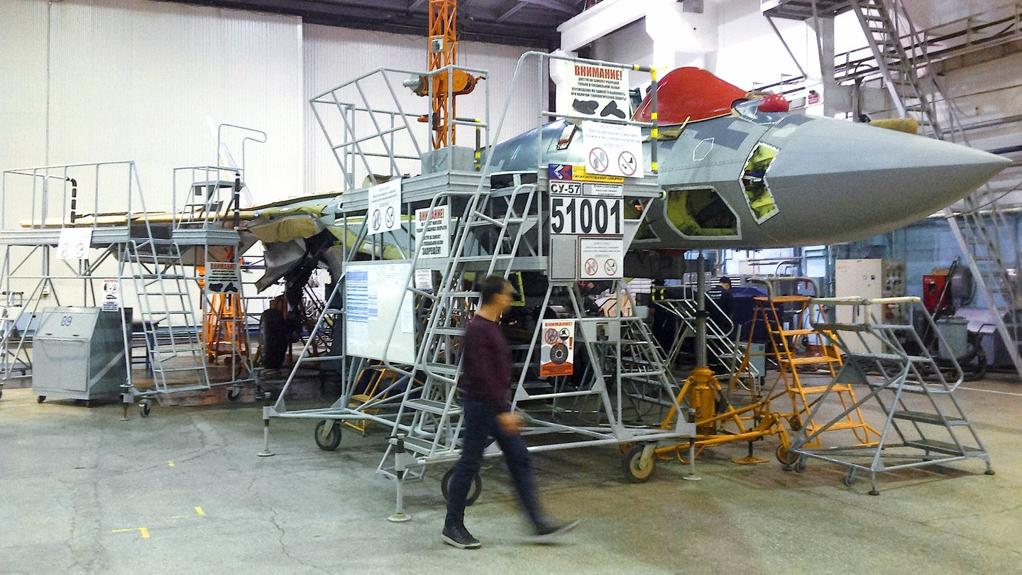 The first serial production Su-57 under construction.