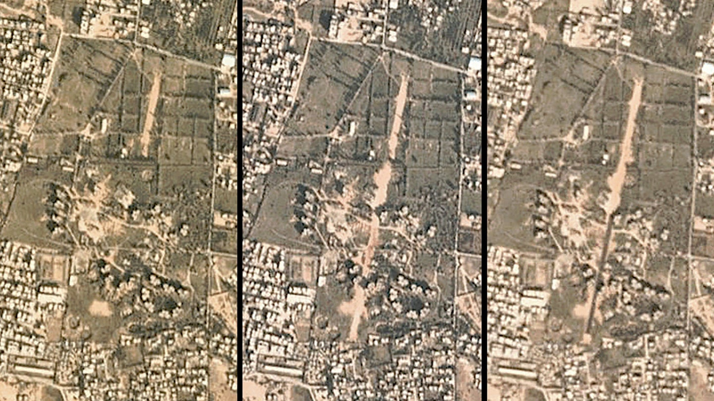 Three satellite images showing progress on the construction of an airstrip near Tripoli, Libya in December 2019.