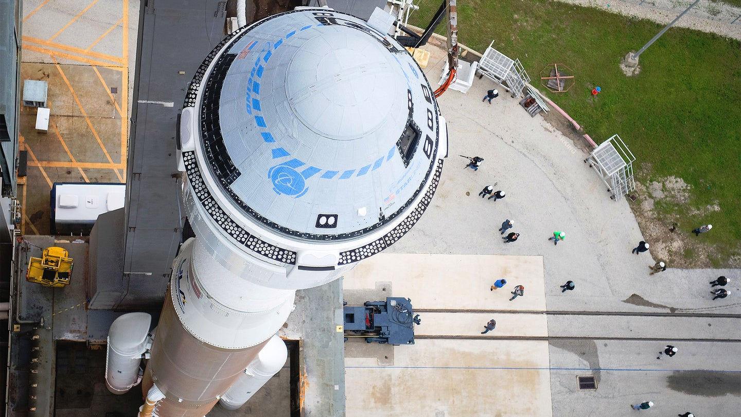 Boeing's CST-100 Starliner atop an Atlas V rocket ahead of its launch on Dec. 20, 2019.