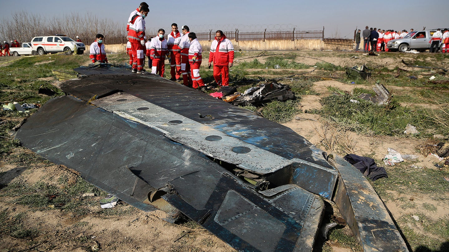 Remains of Ukraine International Airlines flight PS752 after it crashed in Iran in January 2020.