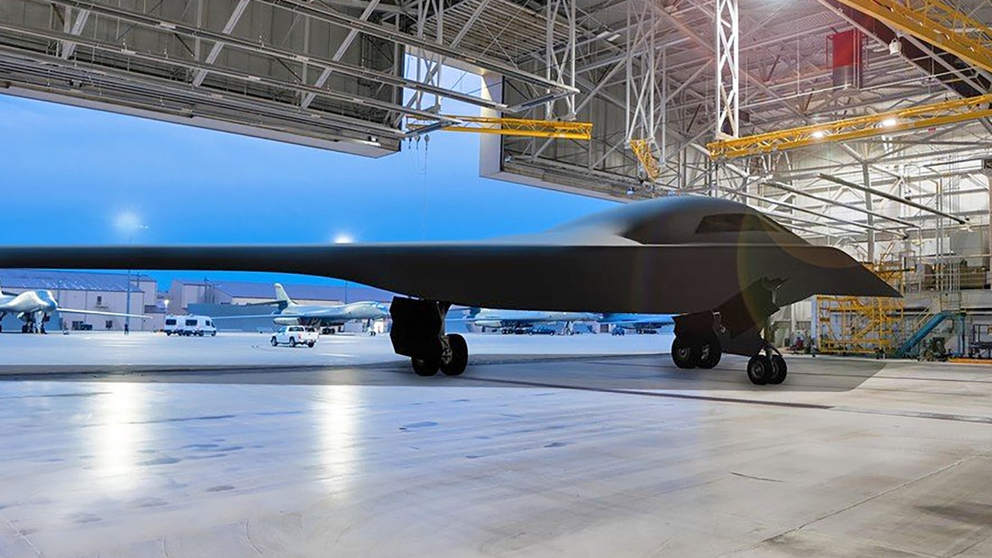 A rendering of a B-21 Raider bomber at Ellsworth Air Force Base.