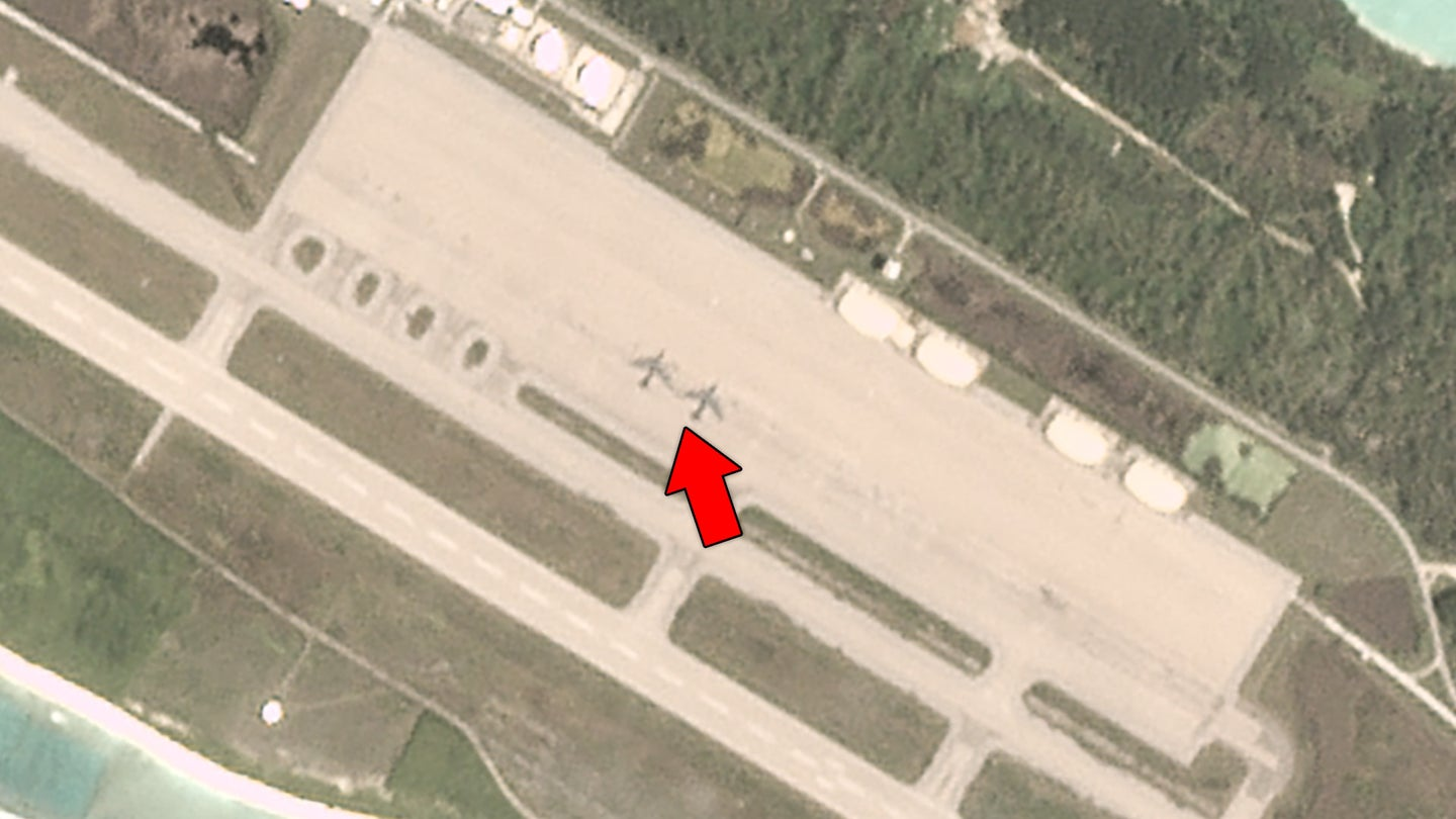 A satellite image showing two B-52 bombers at the U.S. air base on the island of Diego Garcia in the Indian Ocean.