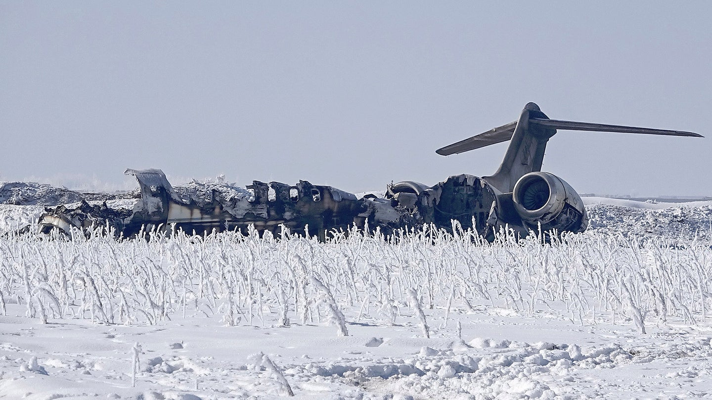 The wreckage of the U.S. Air Force E-11A Battlefield Airborne Control Node aircraft that crashed in Afghanistan on Jan. 27, 2020.