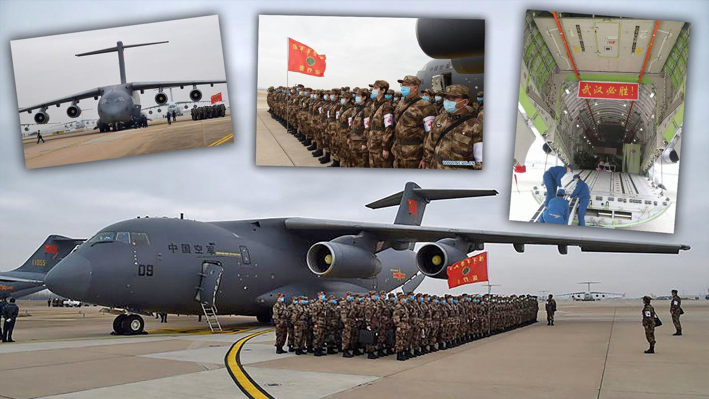 Scenes from the PLAAF airlift to Wuhan Tianhe International Airport on Feb. 13, 2020.
