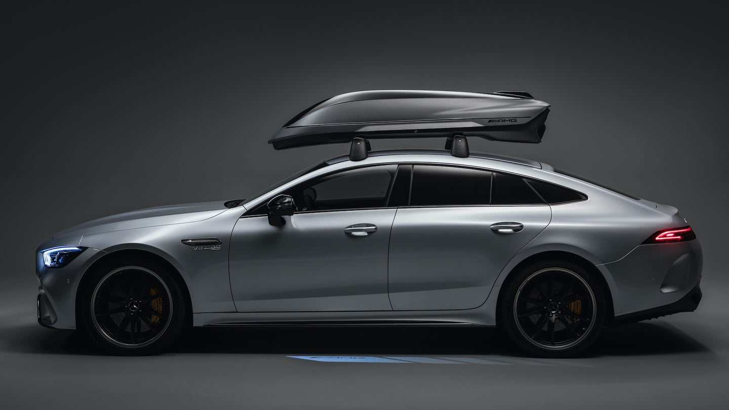 Spitzenwerte in Aerodynamik und Performance: Die neue Mercedes-AMG DachboxBlue chips in aerodynamics and performance: the new Mercedes-AMG roof box
