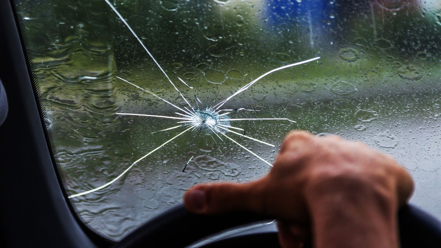 A broken windshield.