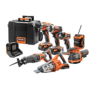 RIDGID 18V Cordless Combo Kit with Rolling Keter Case