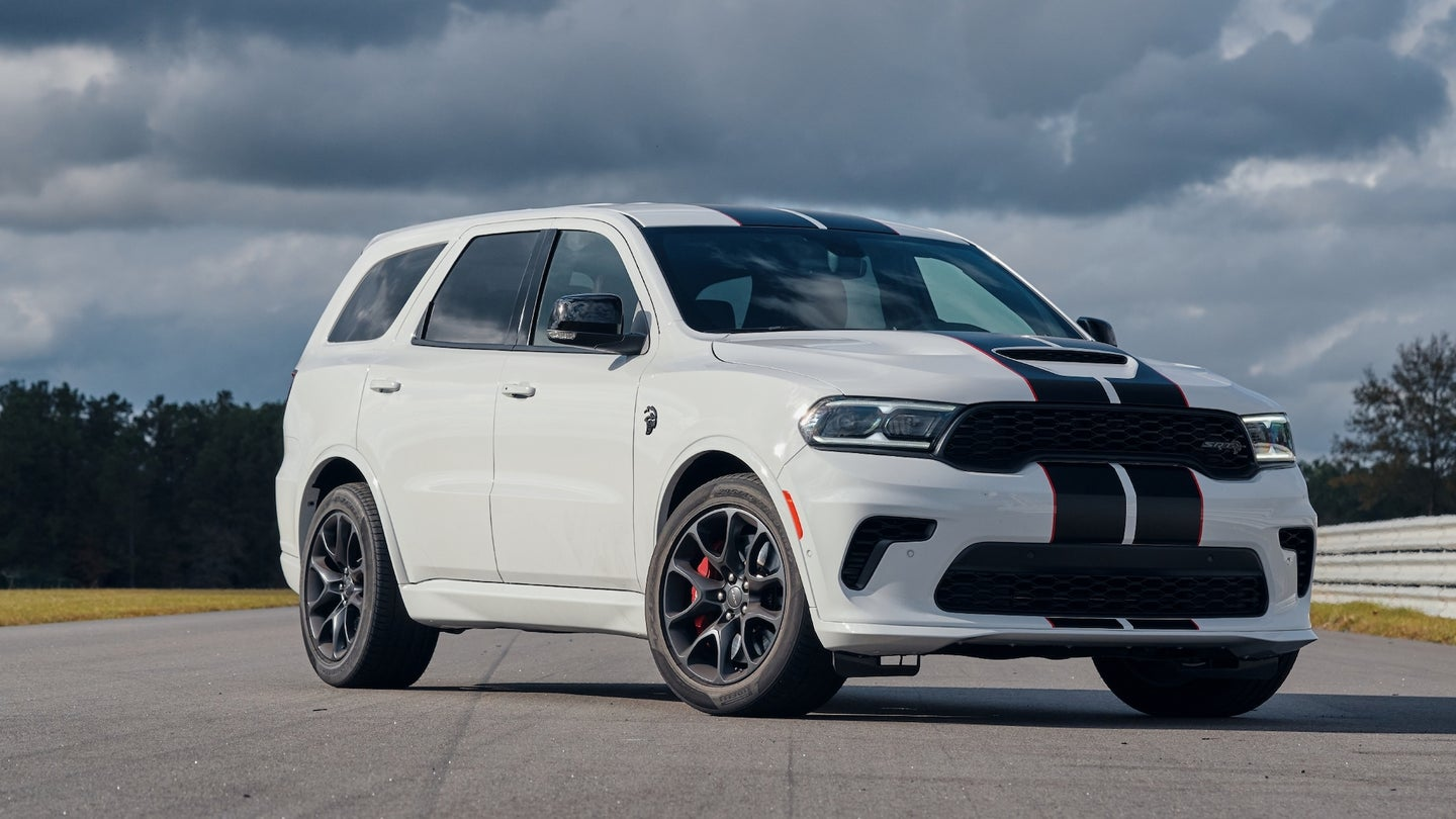 2021 Dodge Durango SRT Hellcat: Powered by the proven supercharged 6.2-liter HEMI® Hellcat V-8 engine, the Durango SRT Hellcat delivers a best-in-class 710 horsepower and 645 lb.-ft. of torque, mated to a standard TorqueFlite 8HP95 eight-speed automatic transmission, shown here in White Knuckle with the Dual Black/Redline stripes.