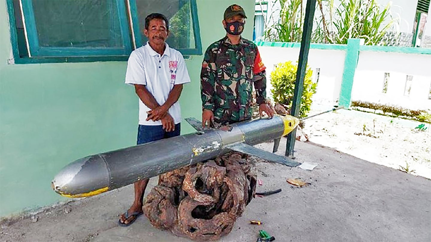 A glider-type unmanned undersea vehicle recovered off the coast of Indonesia's Selayar Islands in December 2020.