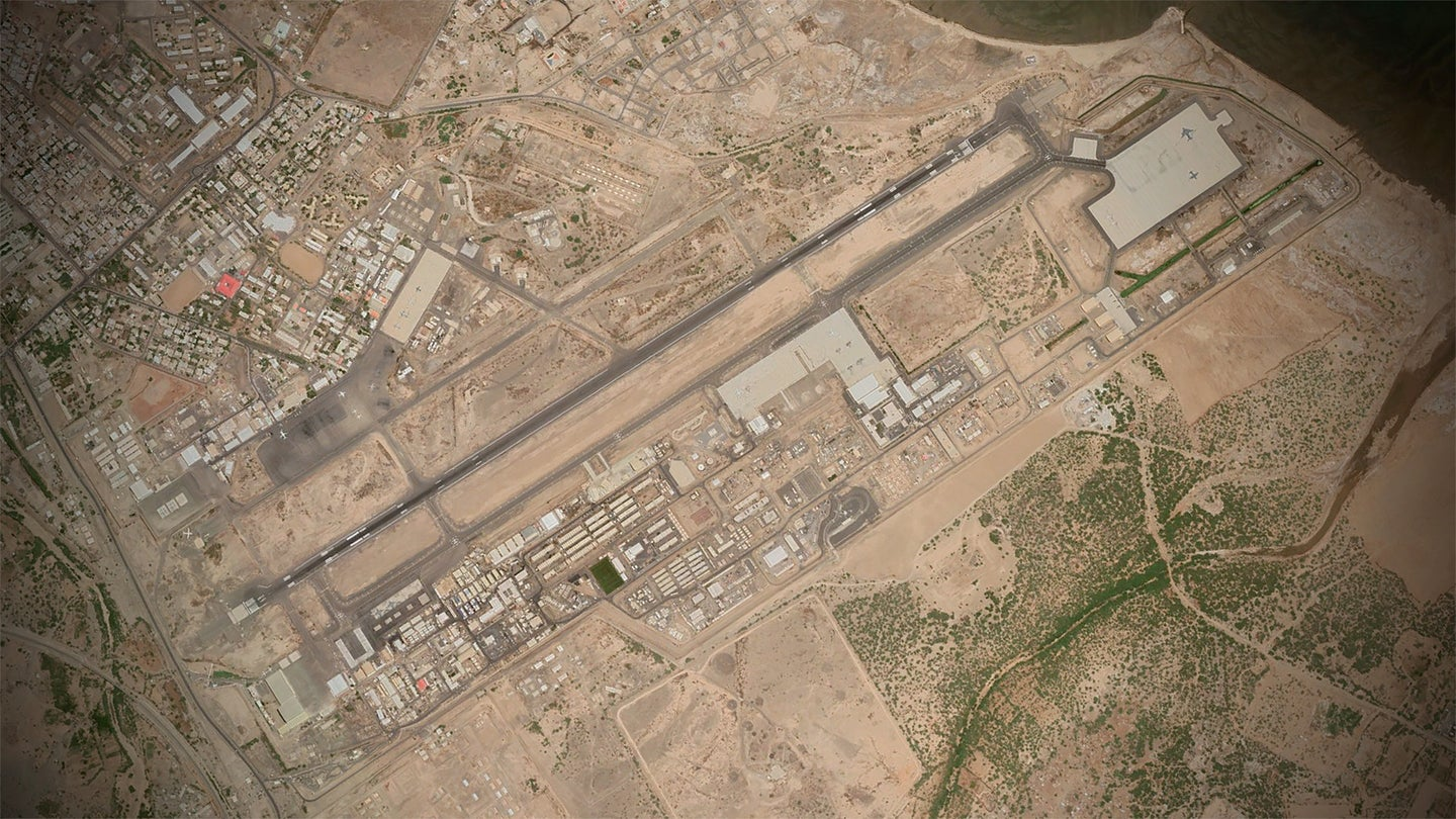A satellite image of Camp Lemonnier, Djibouti as of October 2020.