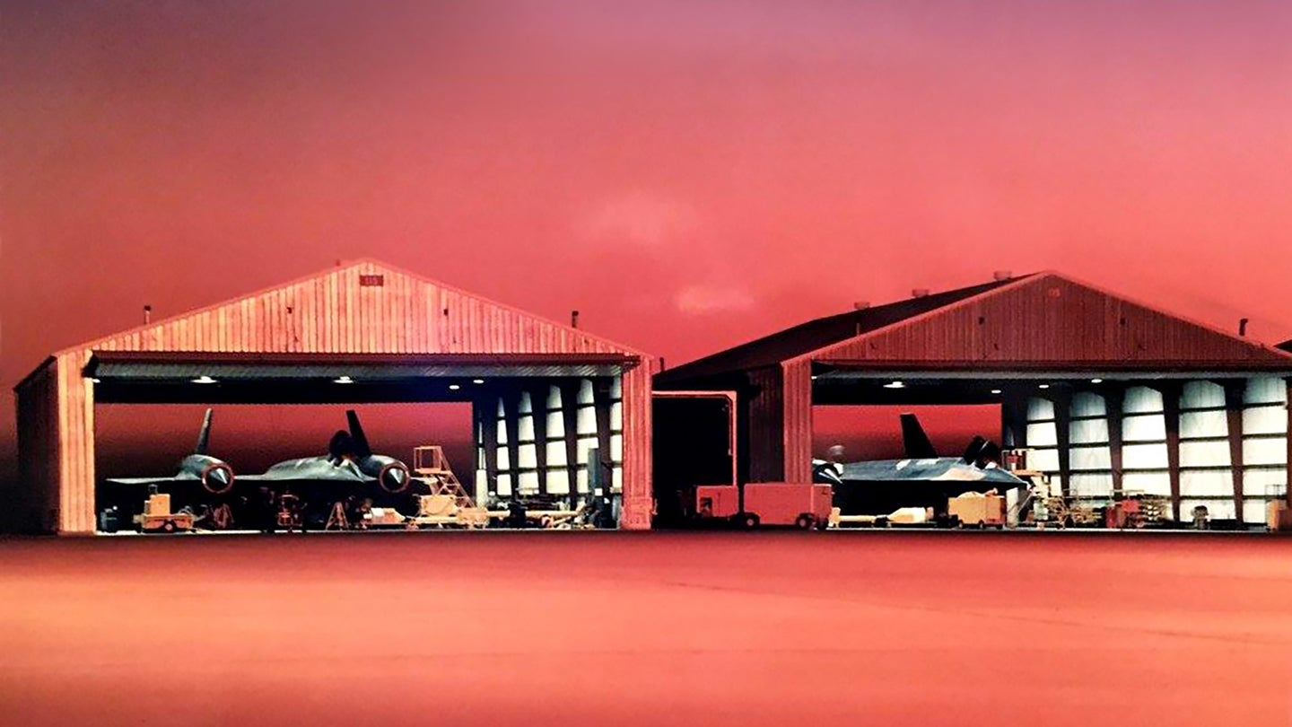 SR71 hangars at sunrise