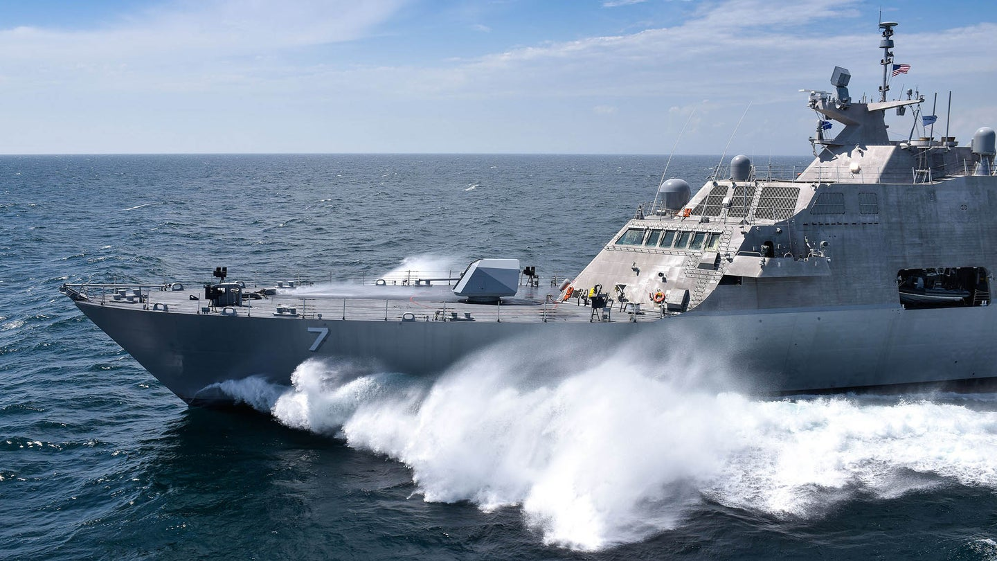 MARINETTE, Wisconsin (July 14, 2016) The future USS Detroit (LCS 7) conducts acceptance trials. Acceptance trials are the last significant milestone before delivery of the ship to the Navy.