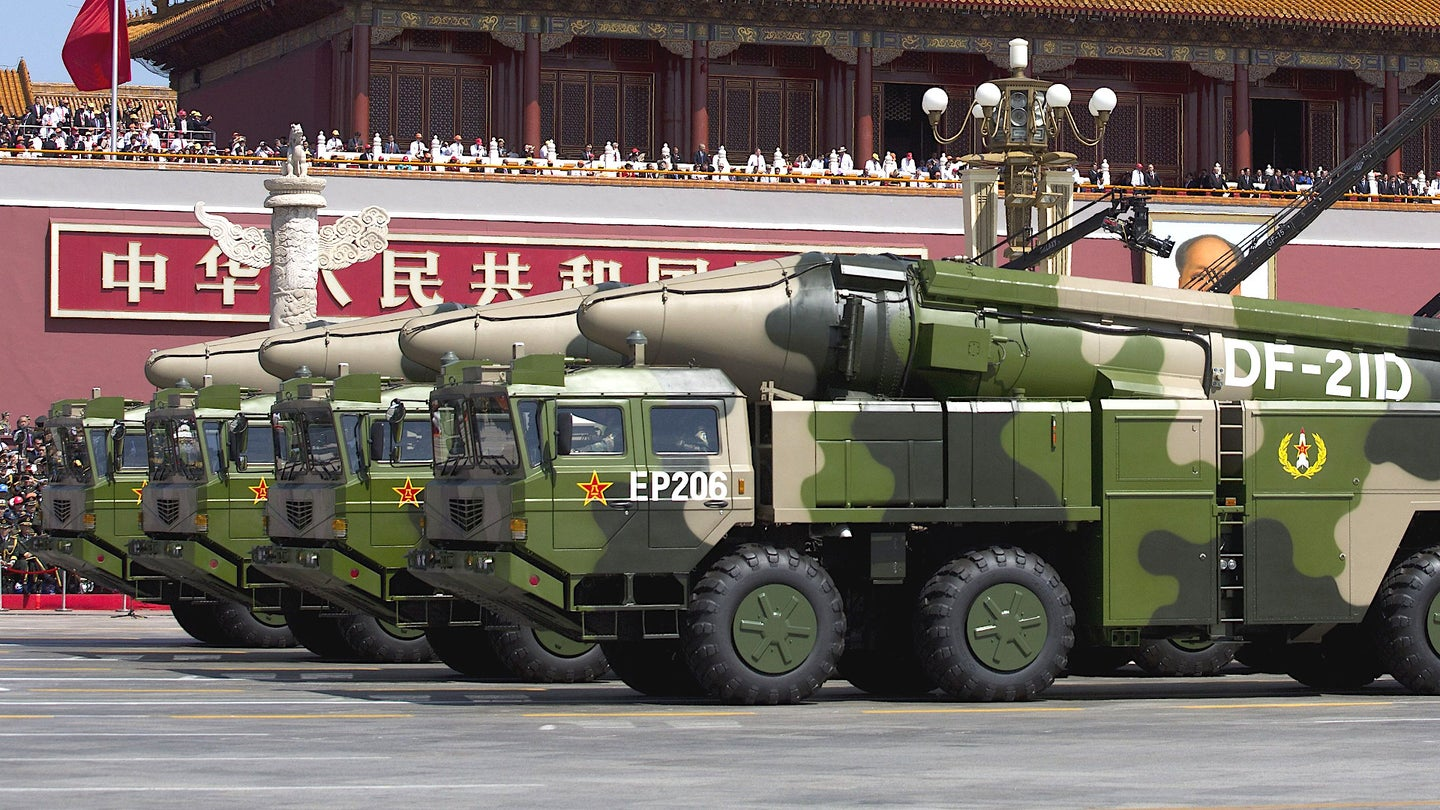 Chinese DF-21D medium-range ballistic missiles on parade.