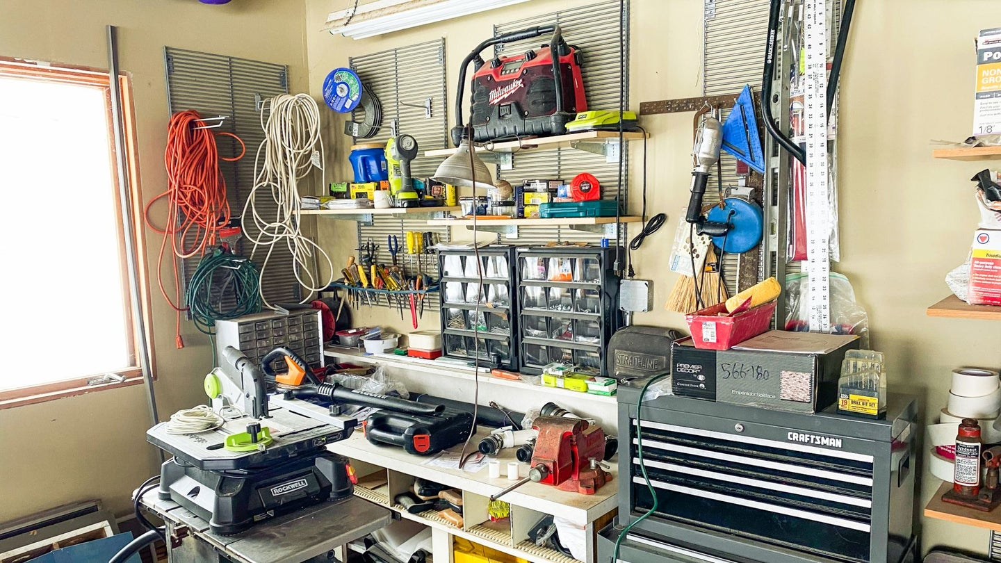 A garage full of tools.
