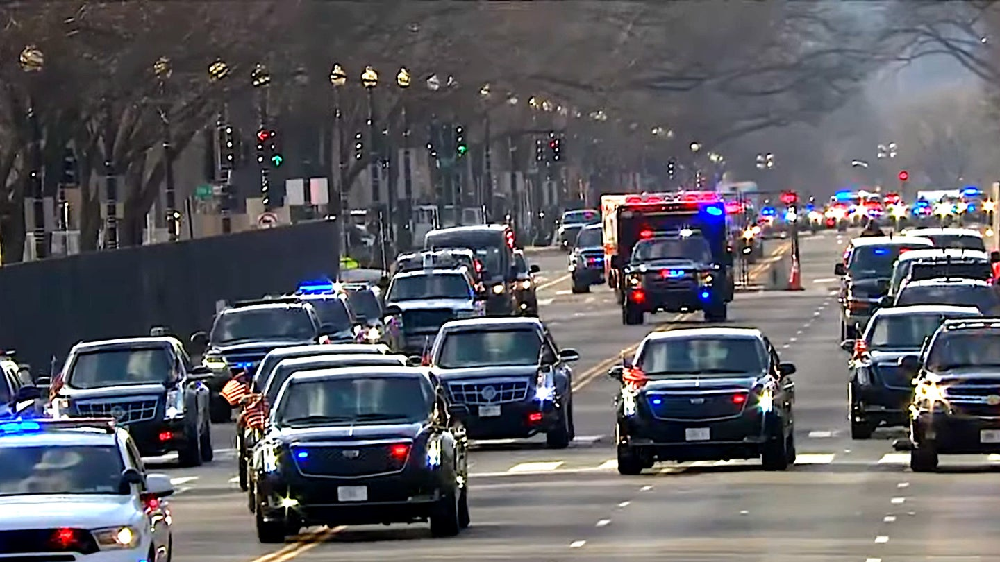 A view of a motorcade carrying President Joe Biden and Vice President Kamala Harris on inauguration day 2021.
