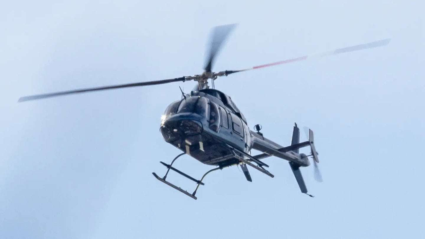 A mysterious Bell 407 helicopter seen flying in the greater Los Angeles Area on Jan. 13, 2021.