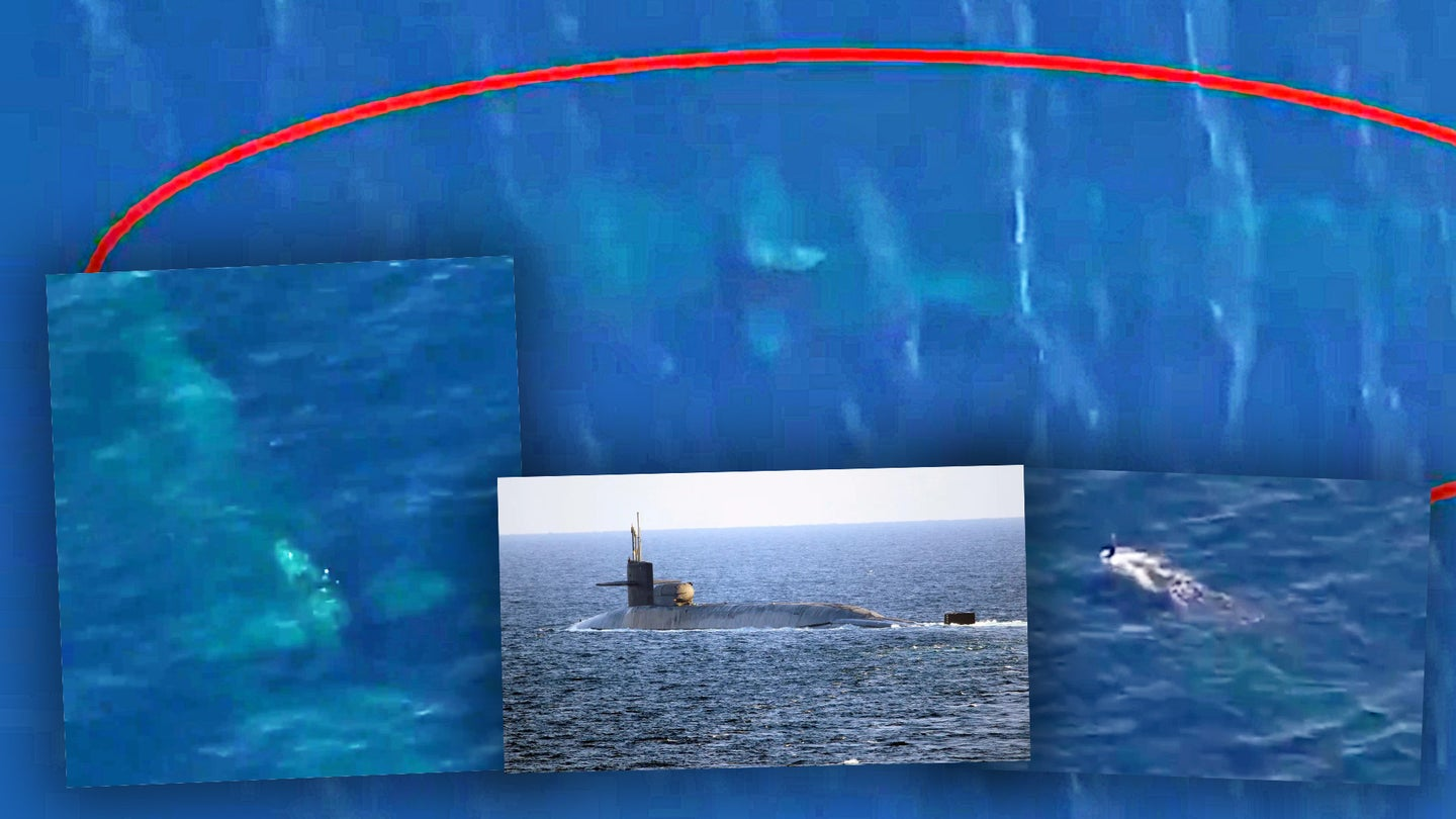 Screengrabs from a video that appears to show an Ohio class guided-missile submarine sailing a periscope depth, as well as an inset of the Ohio class USS Georgia.