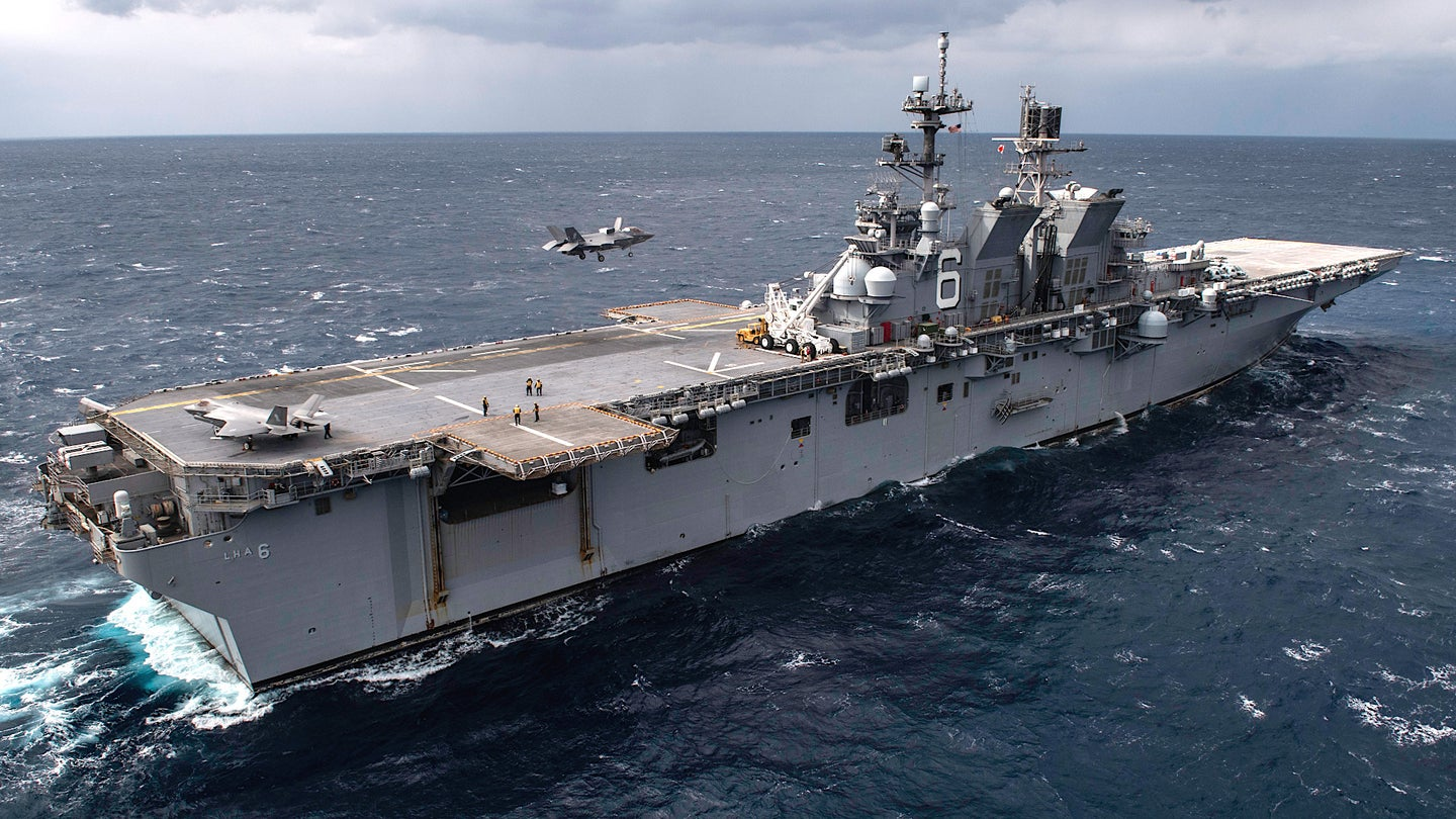 The amphibious assault ship USS America.