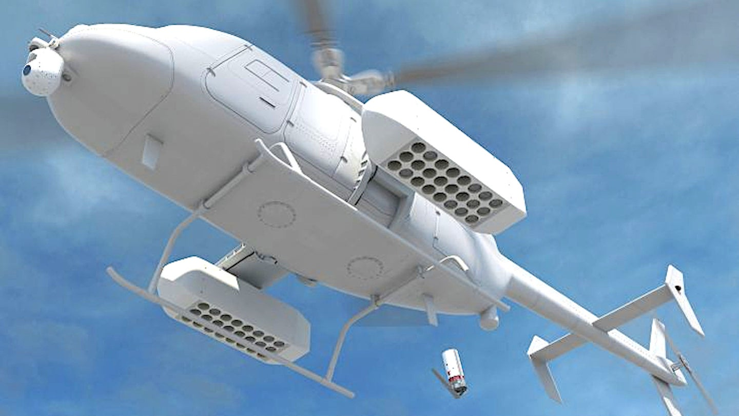 An artist's conception of an MQ-8C Fire Scout with anti-submarine warfare kit, including sonobuoy dispensers.