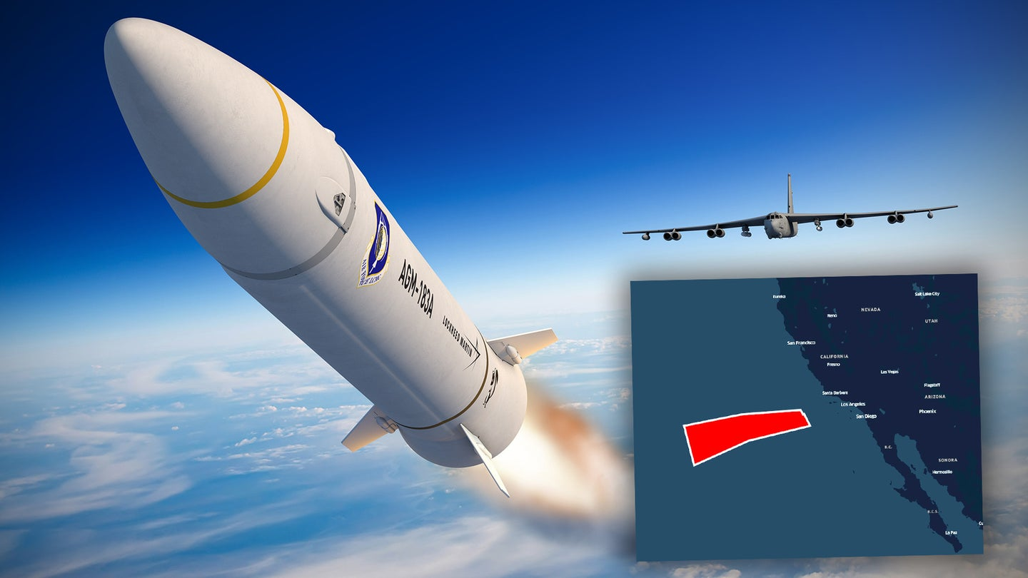 A rendering of the launch of an AGM-183A ARRW hypersonic missile with a map showing a block of restricted airspace that could be linked to the first flight test of this weapon.