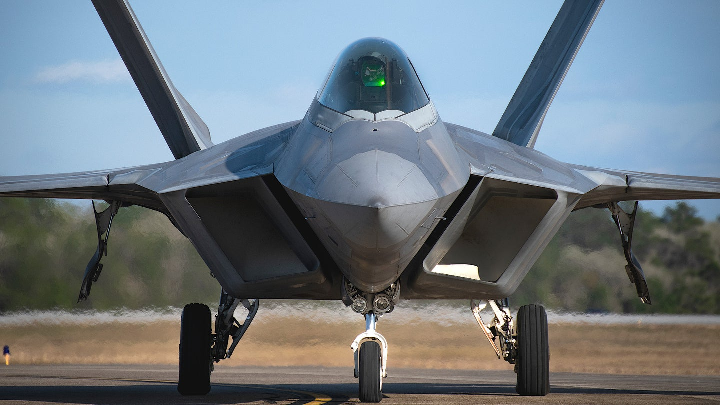 An F-22 Raptor stealth fighter belonging to the 325th Fighter Wing.