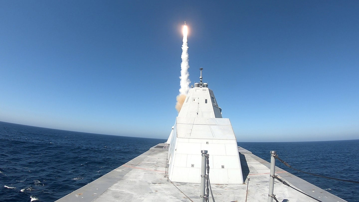 The USS Zumwalt fires an SM-2 Block IIIAZ surface-to-air missile during a test.