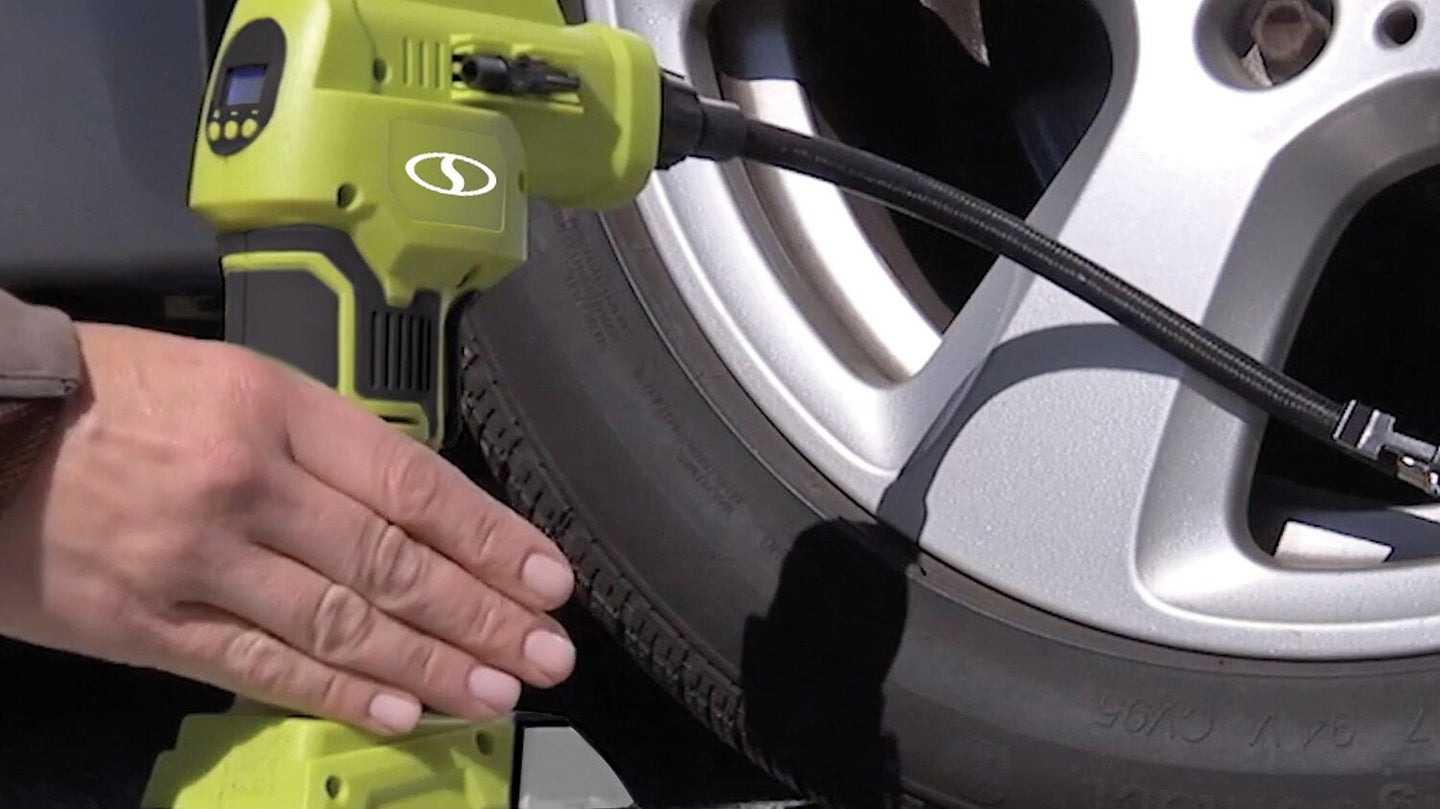 inflating tires using cordless air compressor
