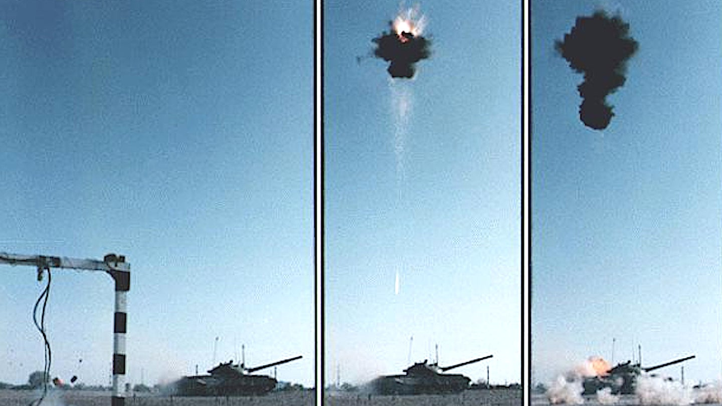 A series of still pictures showing a test of an M93 Hornet Wide Area Munition, an earlier top-attack anti-armor landmine.
