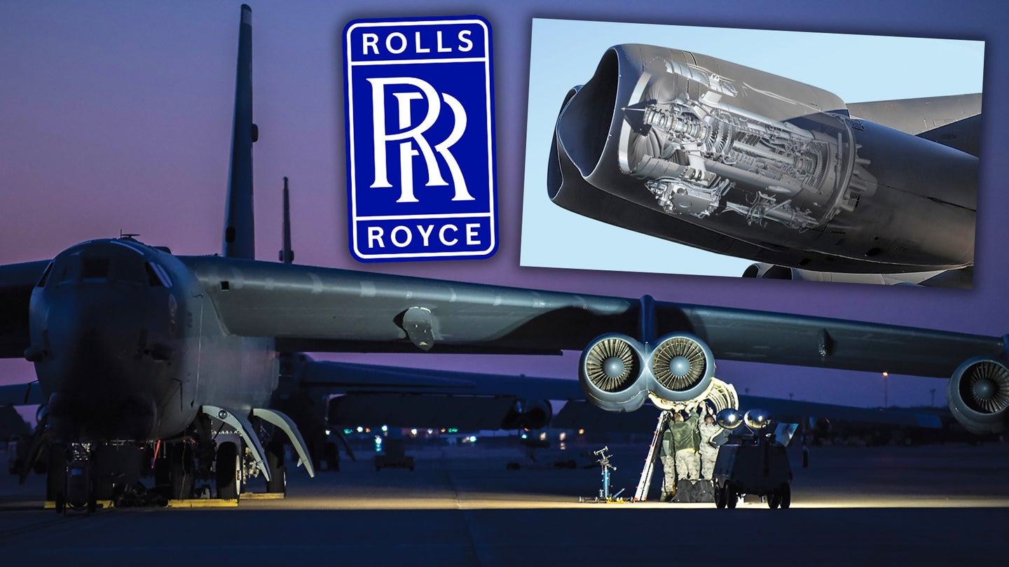 A composite image showing a B-52H bomber, as well as a graphic depicting the installation of new F130 engines.
