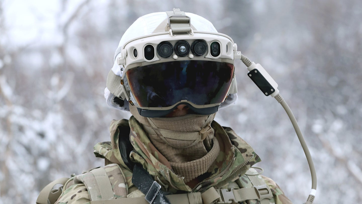 A US Army soldier wearing an IVAS headset during cold weather testing.
